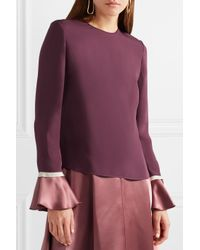 Roksanda Purple Saba Satin-trimmed Silk-crepe Blouse