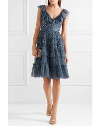 Needle & Thread - Blue Sunburst Tiered Embellished Ruffle-trimmed Tulle Midi Dress - Lyst