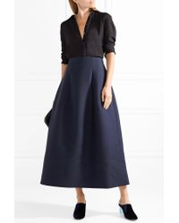 The Row - Blue Batley Wool And Silk-blend Midi Skirt - Lyst