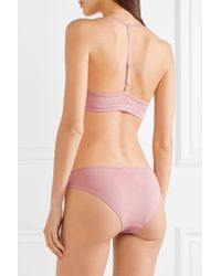 Skin - Pink Orla Tulle-trimmed Stretch Organic Pima Cotton-jersey Soft Cup Bra - Lyst