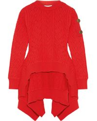 Sonia Rykiel - Red Asymmetric Cable-knit Sweater - Lyst