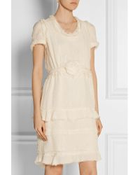Lanvin - Natural Tiered Crinkled Silk-chiffon Dress - Lyst