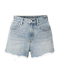 Alexander Wang - Blue Bite Frayed Denim Shorts - Lyst