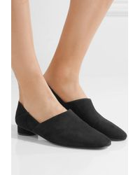 The Row - Black Noelle Suede Loafers - Lyst