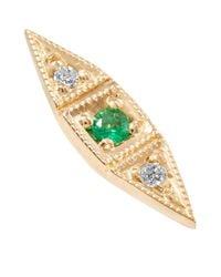 Jennie Kwon - Metallic Deco Point 14-karat Gold, Emerald And Diamond Earring - Lyst