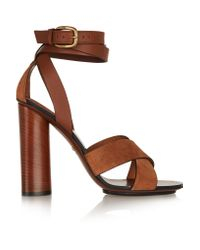 Gucci - Brown Leather And Suede Sandals - Lyst