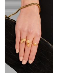 Valentino - Metallic Set Of Five Gold-Tone Rings - Lyst