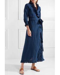 Rhode Resort - Blue Jagger Ruffled Cotton-gauze Maxi Wrap Dress - Lyst