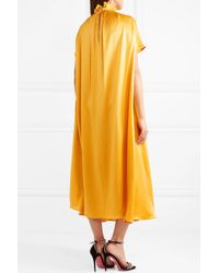 Roksanda - Yellow Rahine Ruffled Silk-satin Midi Dress - Lyst