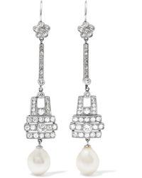 Fred Leighton - Metallic 1915 Platinum, Diamond And Pearl Earrings - Lyst