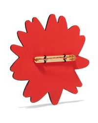 Marni | Red Leather, Gold Tone And Crystal Brooch | Lyst