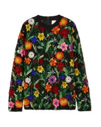 Ashish - Black Oversized Sequined Cotton Top - Lyst