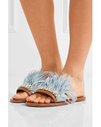 Miu Miu - Blue Swarovski Crystal And Feather-embellished Satin And Leather Slides - Lyst