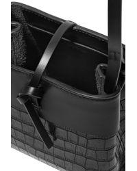 Kara | Black Nano Tie Matte And Croc-effect Patent-leather Shoulder Bag | Lyst