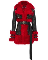 Alexander McQueen | Black Shearling-lined Leather Jacket | Lyst