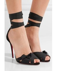Christian Louboutin - Black Christeriva 100 Bow-embellished Grosgrain And Suede Sandals - Lyst