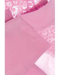 La Perla - Pink Edenic Macramé Lace And Stretch-jersey Thong - Lyst