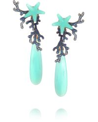 Lydia Courteille | Blue 18-karat White Gold, Sapphire And Agate Earrings | Lyst