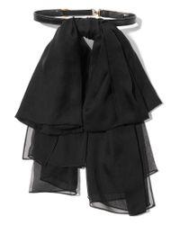 Saint Laurent | Black Silk Bow-embellished Leather Collar | Lyst