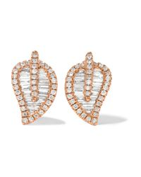 Anita Ko | Metallic Leaf 18-karat Rose Gold Diamond Earrings | Lyst