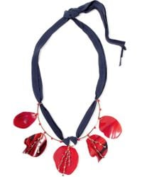 Marni - Red Gold-plated, Horn, Crystal And Suede Necklace - Lyst