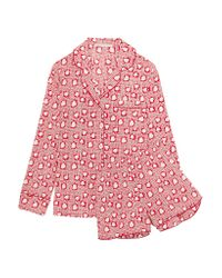 Stella McCartney - Pink Poppy Snoozing Printed Stretch-silk Crepe De Chine Pajama Set - Lyst
