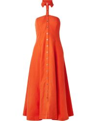 Mara Hoffman - Woman Veronique And Linen-blend Halterneck Midi Dress Orange - Lyst