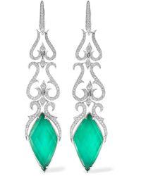 Stephen Webster - Multicolor Belle Epoque 18-karat White Gold, Agate And Diamond Earrings - Lyst