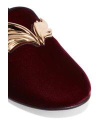 Giuseppe Zanotti - Red Embellished Velvet Loafers - Lyst