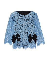 Marc Jacobs | Blue Bow-embellished Silk Twill-paneled Guipure Lace Top | Lyst