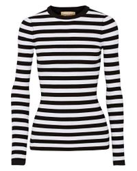 Michael Kors | Black Striped Ribbed Stretch-knit Sweater | Lyst