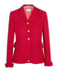 Gucci | Red Ruffled Wool And Silk-blend Jacket | Lyst