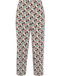 Prada - Multicolor Cropped Printed Silk Crepe De Chine Straight-leg Pants - Lyst