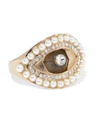 Alexander McQueen - Metallic Gold-tone, Swarovski Crystal And Faux Pearl Ring - Lyst
