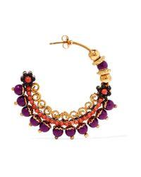 Etro - Metallic Gold-plated Beaded Hoop Earrings - Lyst