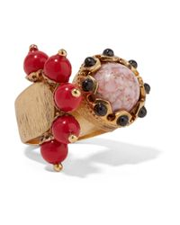 Etro | Red Gold-plated Embellished Ring | Lyst