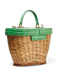 Dolce & Gabbana - Green Wicker And Printed Textured-leather Tote - Lyst