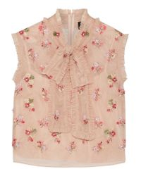 Needle & Thread - Pink Ditsy Pussy-bow Embellished Tulle Blouse - Lyst