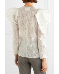 Carmen March - White Wrap-effect Ruffled Crinkled-taffeta Blouse - Lyst