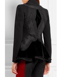 Altuzarra - Black Rome Velvet-paneled Embroidered Wool Blazer - Lyst