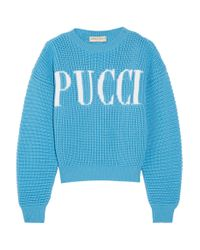 Emilio Pucci - Blue Printed Merino Wool Pullover - Lyst