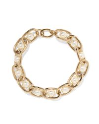 Givenchy | Metallic Chain Choker In Gold-tone Brass And Faux Pearl | Lyst
