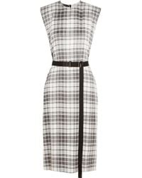 Calvin Klein - Black Checked Silk Crepe De Chine Dress - Lyst