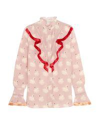 Stella McCartney - Pink Maia Fringed Printed Silk Crepe De Chine Blouse - Lyst
