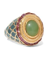 Percossi Papi | Metallic Gold, Chrysoprase And Ruby Ring | Lyst