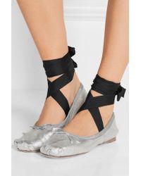 Miu Miu - Multicolor Lace-up Grosgrain-trimmed Metallic Leather Ballet Flats - Lyst