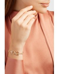 Gucci - Metallic 18-karat Gold Diamond Horsebit Bracelet - Lyst