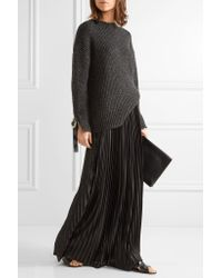 By Malene Birger Black Doha Pleated Charmeuse Maxi Skirt