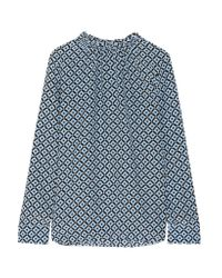 Marni | Blue Gathered Printed Silk Crepe De Chine Blouse | Lyst