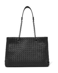 Bottega Veneta | Black Shopper Medium Intrecciato Leather Tote | Lyst